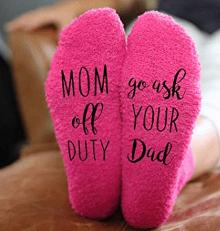 Screenshot_2019-11-03 Amazon com Mom off Duty, Ask your Dad Funny Socks - Cool Pink Fuzzy Novelty Cupcake Packaging for Her[...]